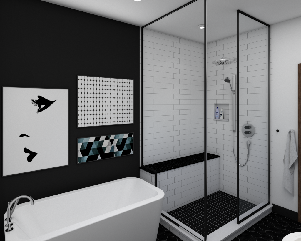 modern industrial bathroom, black and white design
