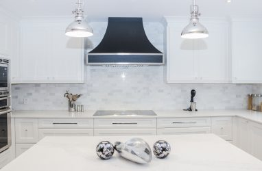 modern, white and black, chic, metal hood
