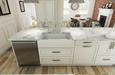 white kitchen, beams in kitchen, farmhouse kitchen, farmhouse sink, subway tiles, caesarstone counters, granite, island, stools, glass pendants, custom cabinetry