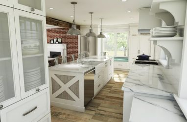 white kitchen, beams in kitchen, farmhouse kitchen, farmhouse sink, subway tiles, caesarstone counters, granite, island, stools, glass pendants, custom cabinetry, brick wall