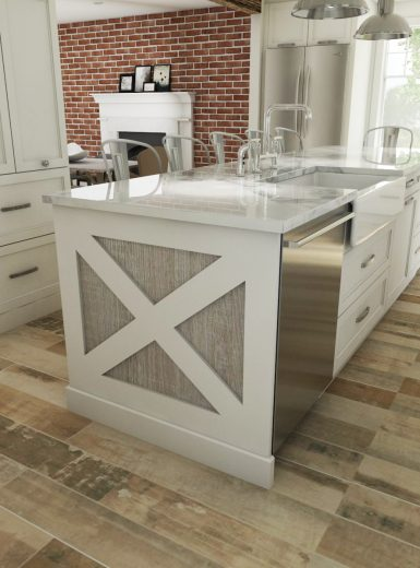 white kitchen, beams in kitchen, farmhouse kitchen, farmhouse sink, subway tiles, caesarstone counters, granite, island, stools, glass pendants, custom cabinetry, brick walls