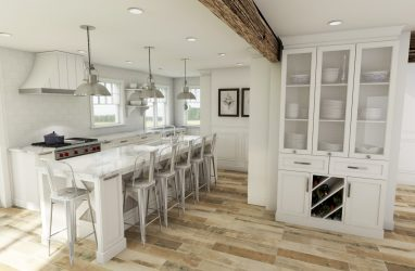 white kitchen, beams in kitchen, farmhouse kitchen, farmhouse sink, subway tiles, caesarstone counters, granite, island, stools, glass pendants, custom cabinetry, metal pendants